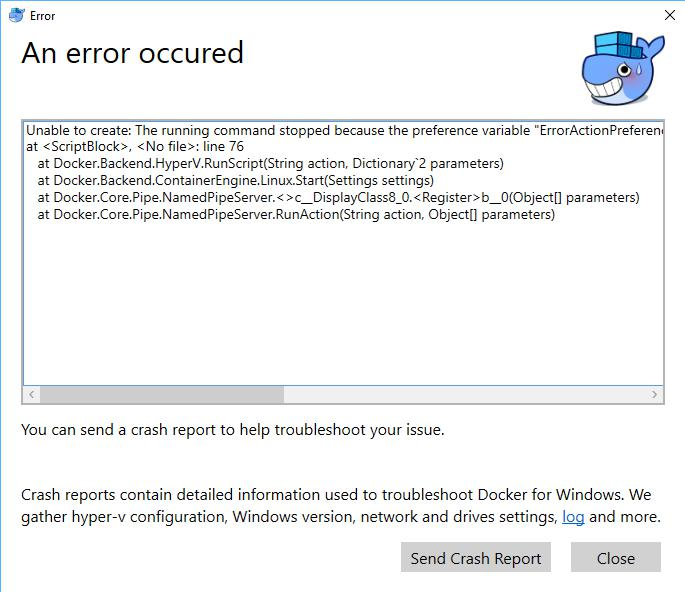 ELMORE IT's Blog » Docker for Windows start-up error